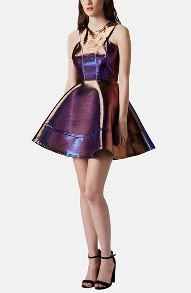 Topshop Metallic Skater Dress