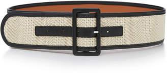 MAISON BOINET Woven Cotton And Leather Belt Size: 85 cm