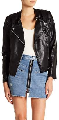 Blank NYC BLANKNYC Denim Faux Leather Peplum Hem Jacket