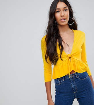 Asos Tall TALL Top with Knot Front Ruffle