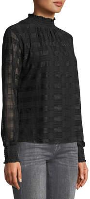 Neiman Marcus Plaid-Embroidered Chiffon Smocked Neck Blouse