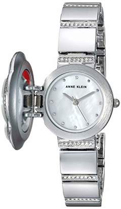Anne Klein Women's AK/3343MPCV Swarovski Crystal Accented Floral Covered Silver-Tone Bracelet Watch