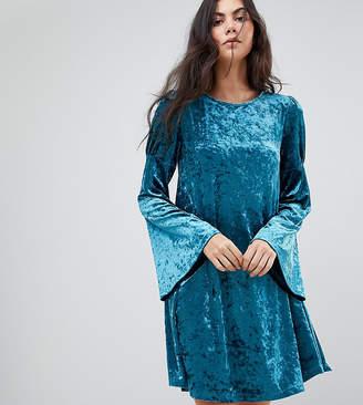 Glamorous Tall Long Sleeve Swing Dress In Crushed Velvet