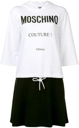 Moschino logo print hooded dress