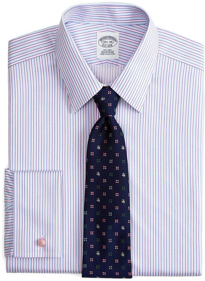 Supima cotton non iron slim fit ombre stripe french cuff for Supima cotton dress shirts