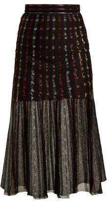 Alexander McQueen Metallic Knit Pleated Midi Skirt - Womens - Black Multi