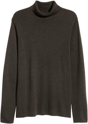 H&M Cotton-blend Turtleneck - Green