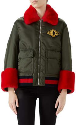 Gucci Nylon Gabardine Web-Trim Coat w/ Faux-Fur Details
