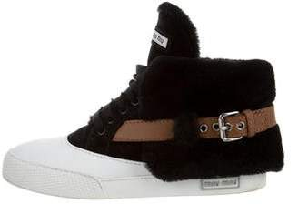 Miu Miu Leather Shearling-Lined Sneakers