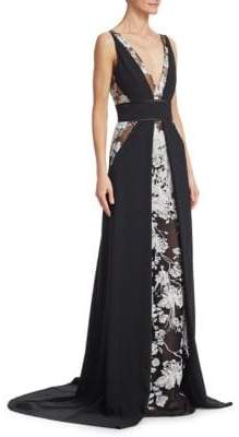 Pamella Roland Embroidered Lace Stretch Crepe Gown