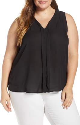 Bobeau Alison Pleat Front Mixed Media Top