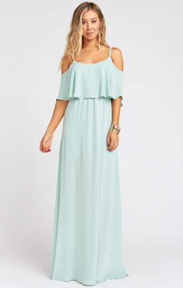 Show Me Your Mumu Caitlin Ruffle Maxi Dress ~ Dusty Mint Crisp