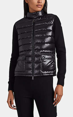 Moncler Women's Down-Front Virgin Wool Jacket - Black