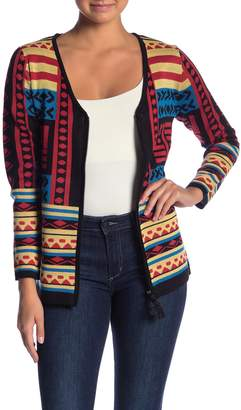 VIP Patterned Zip Up Cardigan