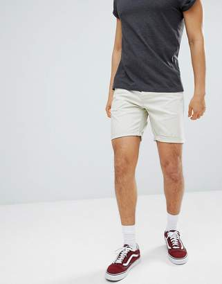 Asos DESIGN Slim Chino Shorts In Putty