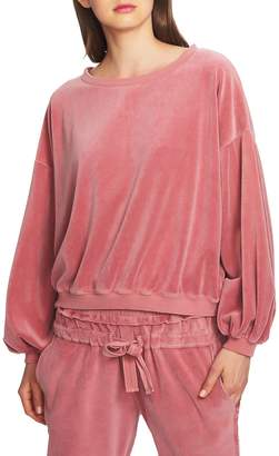 1 STATE 1.STATE Velour Boat Neck Pullover Top
