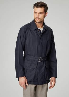 Giorgio Armani Garment-Dyed Safari Jacket In Water-Repellent Coated Poplin