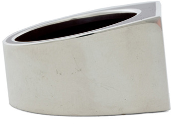 Maison Martin Margiela Striped Ring in Silver & Bordeaux