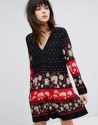 MinkPink Drop Waist Dress Smock Dress With Border Print