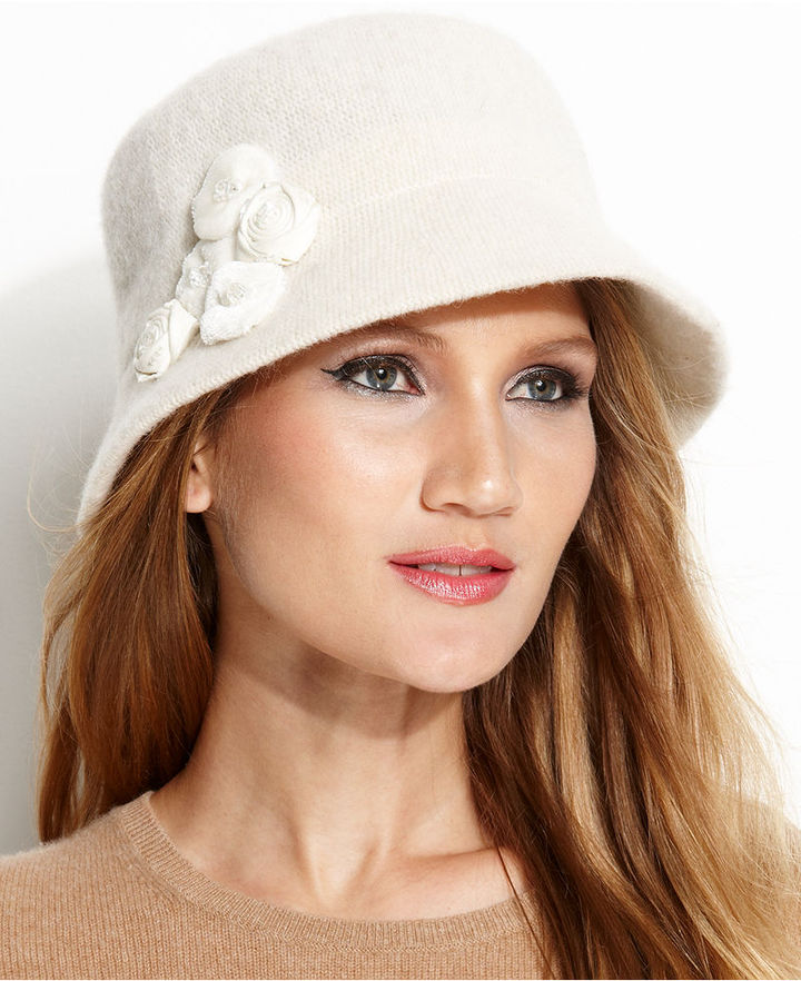 Nine West Knit Microbrim Hat with Rosettes Hat