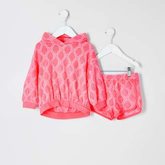 River Island Mini grls Pink RI towelling short outfit