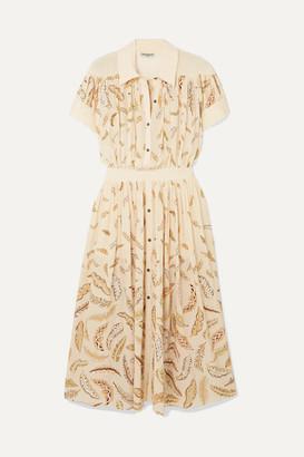 Three Graces London + Zandra Rhodes Honore Printed Silk Crepe De Chine Midi Dress - Ecru