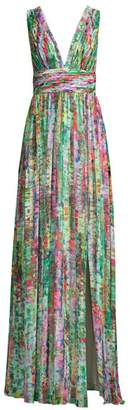 Aidan Mattox Printed Chiffon Maxi Dress