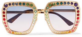 Crystal-embellished Square-frame Gold-tone Sunglasses - one size