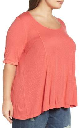 Three Dots Seamed Elbow Sleeve Tee (Plus Size)
