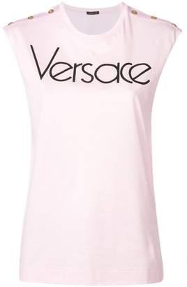 Versace logo printed sleeveless top