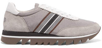 Brunello Cucinelli Embellished Voile, Suede And Leather Sneakers - Gray