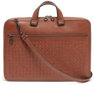 Intrecciato Slim Leather Briefcase - Mens - Brown