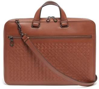 Bottega Veneta Intrecciato Slim Leather Briefcase - Mens - Brown