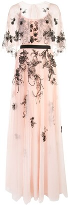 Marchesa long embroidered gown