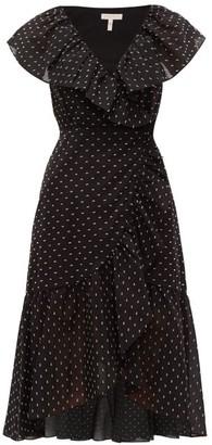 Rebecca Taylor Ruffled Fil Coupe Wrap Midi Dress - Womens - Black White