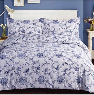 Tribeca Living Floral Cotton Flannel Printed Oversized King Duvet Set Bedding