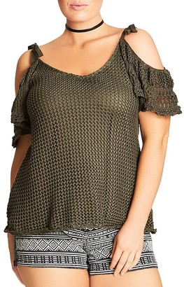 City Chic Cold Shoulder Crochet Top $69 thestylecure.com