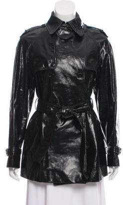 Dolce & Gabbana Double-Breasted Patent Leather Coat w/ Tags