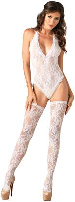 Leg Avenue Women's Floral Lace Deep V-Teddy and Stockings