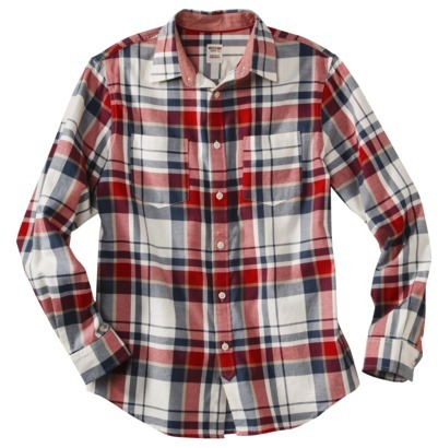 Mossimo Men's Long Sleeve Poplin Button Down - Red Plaid