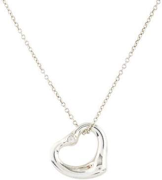 Tiffany & Co. Diamond Open Heart Pendant Necklace