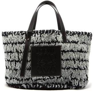 Loewe Leather Trimmed Woven Denim Tote Bag - Womens - Black Blue