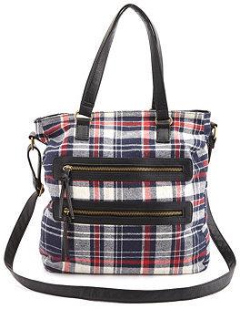 Charlotte Russe Double Zipper Flannel Plaid Tote Bag