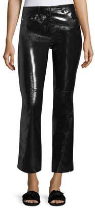 Helmut Lang Patent Leather Flared-Leg Crop Pants