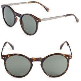 Alfred Sung 50mm Tortoiseshell Round Cats-Eye Sunglasses