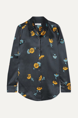 Equipment Essential Floral-print Silk-satin Shirt - Navy