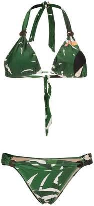 Adriana Degreas Geometric Foliage Long Triangle Bikini