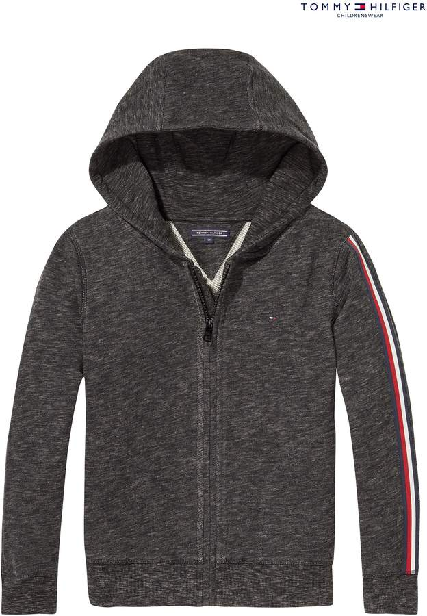 Boys Tommy Hilfiger Boys Stripe Zip Through Hoody - Grey