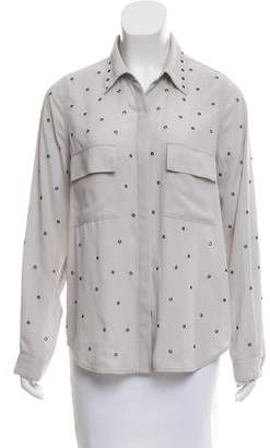 L'Agence Grommet-Accented Button-Up Top