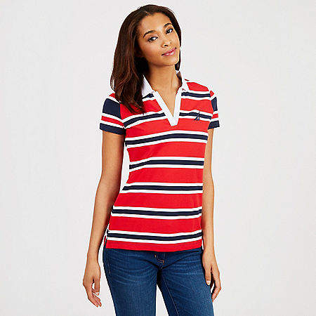 Mixed Stripe Classic Fit Split-Neck Polo